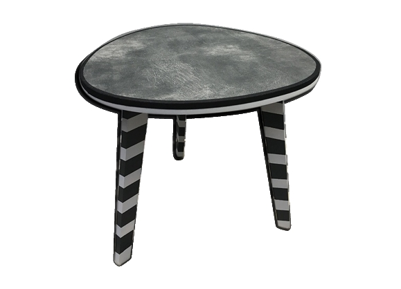 Table tripode simili cuir grise