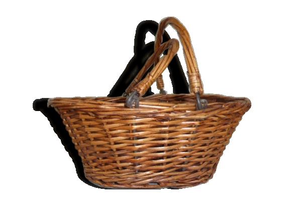 Joli petit panier avec anses, osier tressé vintage