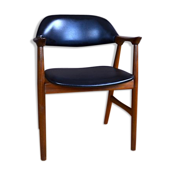 chaise de bureau design scandinave en teck vcintage 1960 teck noir bon tat scandinave. Black Bedroom Furniture Sets. Home Design Ideas