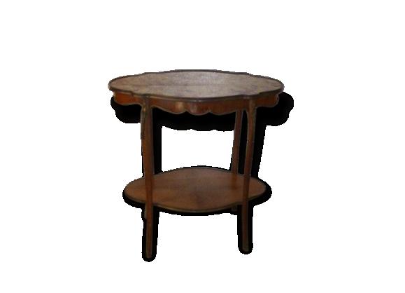 Table console baroque de style louis XV, marbre, bois et décors