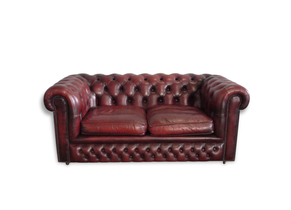 Canap chesterfield bordeaux 2 places cuir bordeaux for Canape cuir bordeaux 2 places