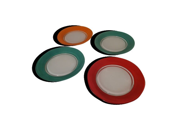 Lot de 4 assiettes à dessert de couleur 'Duralex'