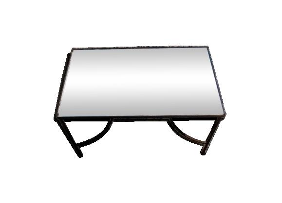 Table basse miroir et fer forgé