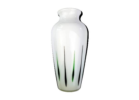 Vase en verre motifs colorés style 1950