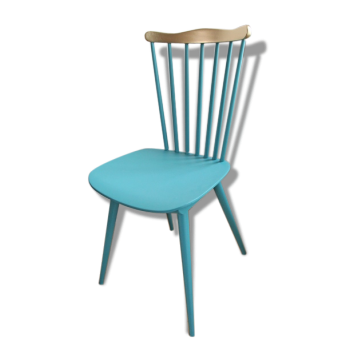 Chaise Bauman turquoise et or