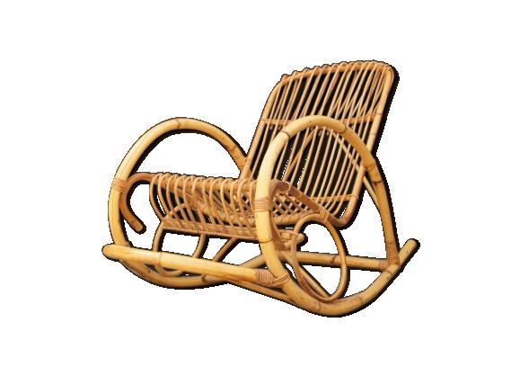 rocking chair vintage en rotin rotin et osier jaune dans son jus vintage. Black Bedroom Furniture Sets. Home Design Ideas