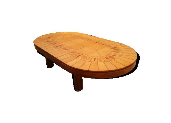 Table basse ovale modèle Garrigue de Roger Capron