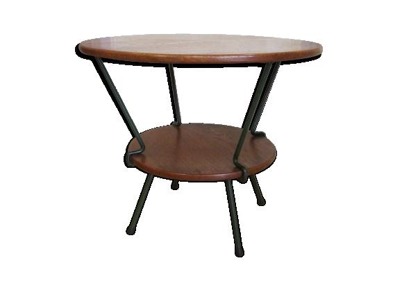 Table basse bois massif fer forgé vintage