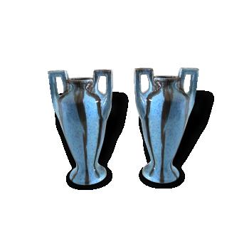 Paire de vases Art déco turquoise