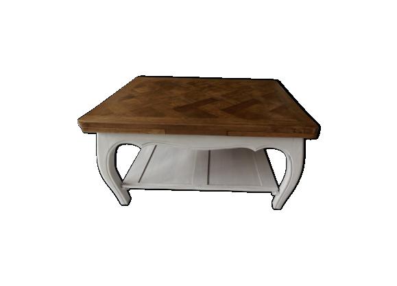 Table basse style louis xv en ch ne avec rallonges bois for Table chene avec rallonge