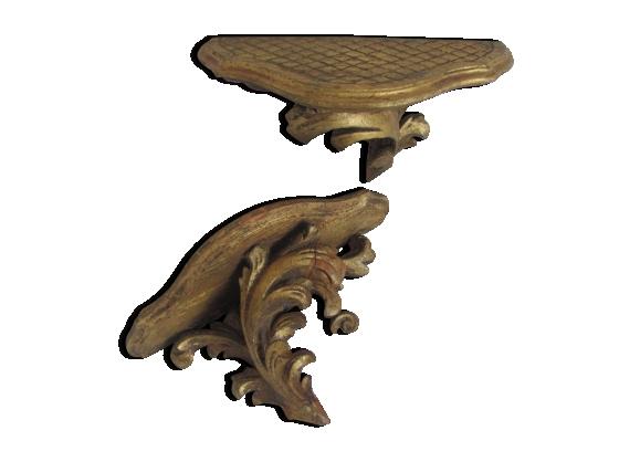 Paire d'étagères ou consoles bois doré style Louis XV mini chevet