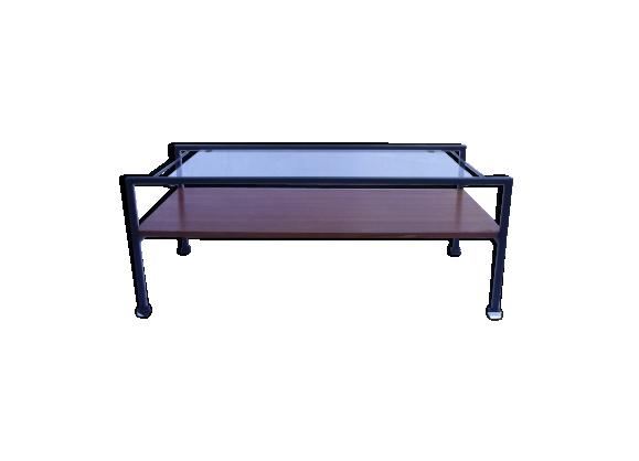 Table basse vintage à double plateau verre et bois