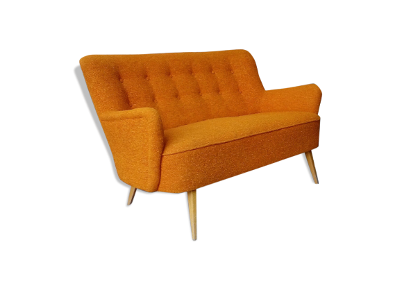 Canap scandinave sofa organique ann es 50 60 orange for Canape style annee 50