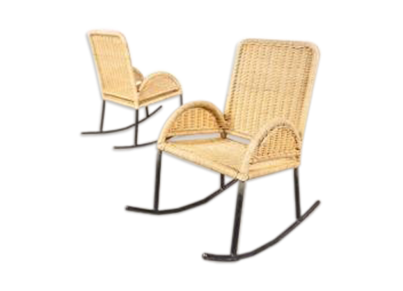 rocking chairs d 39 enfants en osier 1950s rotin et osier beige bon tat scandinave. Black Bedroom Furniture Sets. Home Design Ideas