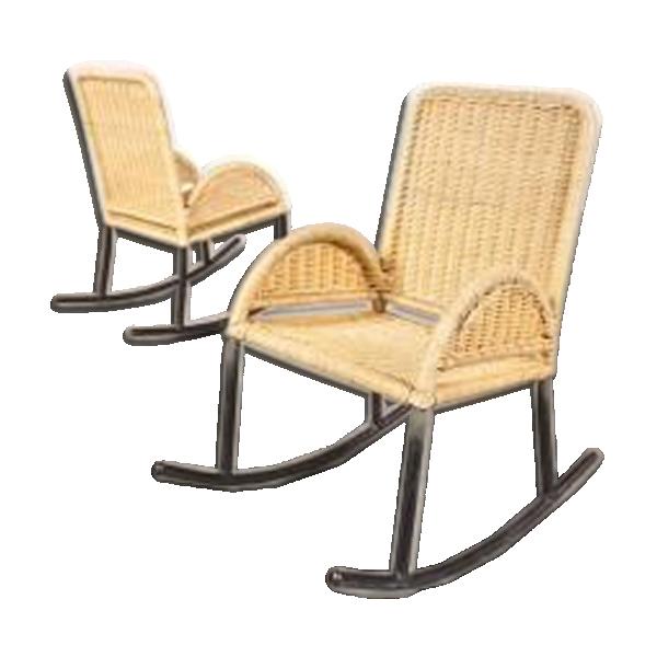 rocking chairs d 39 enfants en osier 1950s rotin et osier beige bon tat scandinave. Black Bedroom Furniture Sets. Home Design Ideas