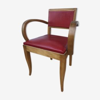 Ancien fauteuil bridge style scandinave en bois et cuir rouge