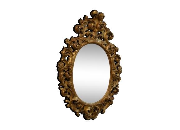 Miroir bois oval for Miroir ovale cadre bois