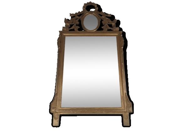 Miroir à médaillon de style Louis XVI à décor de ruban en bois doré