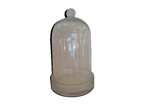 Support en verre avec cloche en verre