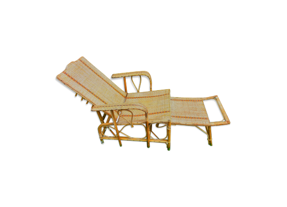 Chaise longue en rotin rotin et osier bois couleur for Chaise longue en rotin