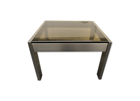 Table basse carr e verre fum et m tal bross 1970 m tal argent couleu - Table basse carree metal ...