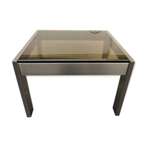 Table basse carree metal et verre for Table basse verre metal