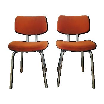 Paire de chaises tissus orange 70's