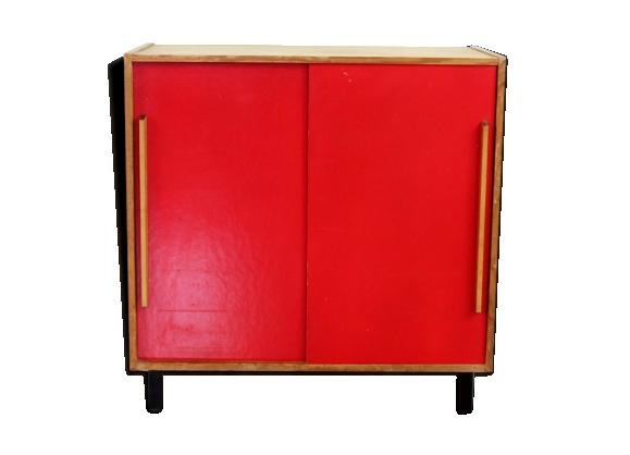 Commode vintage années 60 portes coulissantes