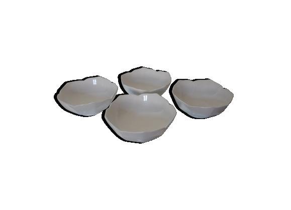 Ensemble de 4 coupelles en céramique blanche forme fleur