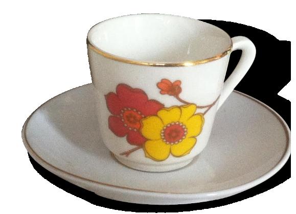 Service à café 'vintage fleurs' en porcelaine