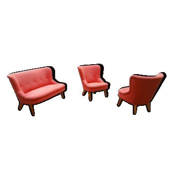 Set 1 sofa + 2 fauteuils années 50 60