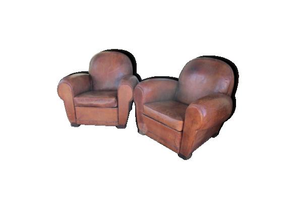 paire de fauteuils des ann es 30 en cuir cuir marron dans son jus art d co. Black Bedroom Furniture Sets. Home Design Ideas