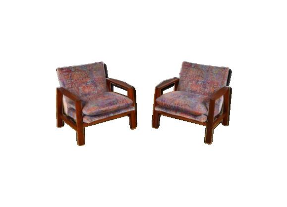 paire de fauteuils design scandinave en teck vintage 1965 tissu multicolore bon tat. Black Bedroom Furniture Sets. Home Design Ideas