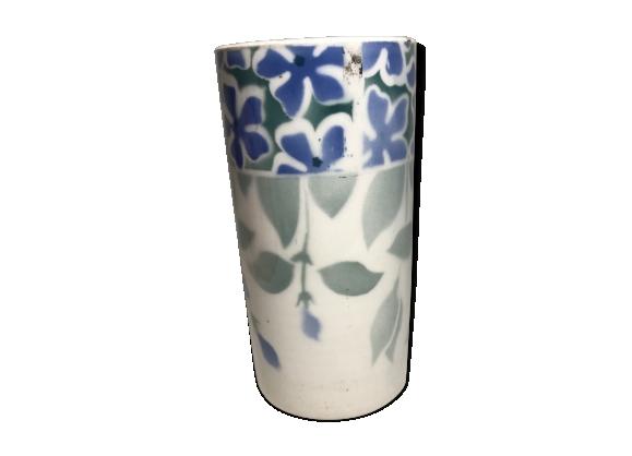Vase rouleau Kg Luneville porcelaine blanc + dessins fleurs vintage