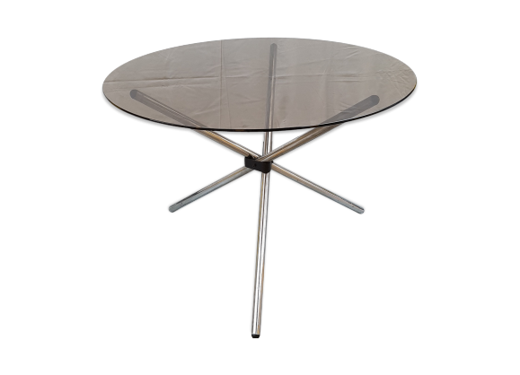 Table design salle manger verre fum et chrome verre - Bureau transparent verre ...
