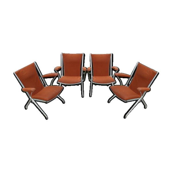 s rie de 4 fauteuils pliants orange ann es 70 vintage m tal orange dans son jus vintage. Black Bedroom Furniture Sets. Home Design Ideas