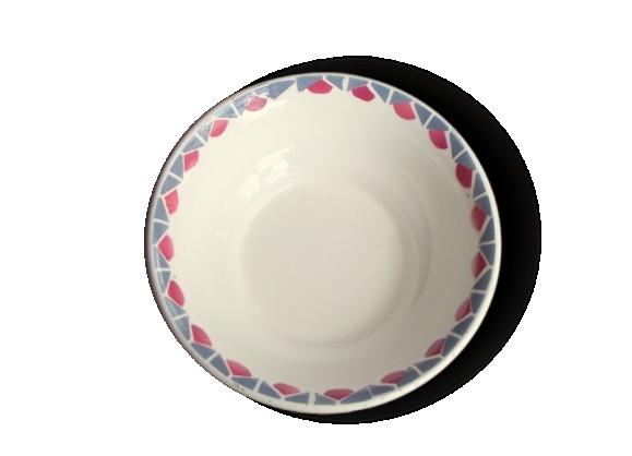 Bol Ancien en Céramique - Décor Géométrique Rose et Gris - Bol à Céréales - Coupelle à Dessert