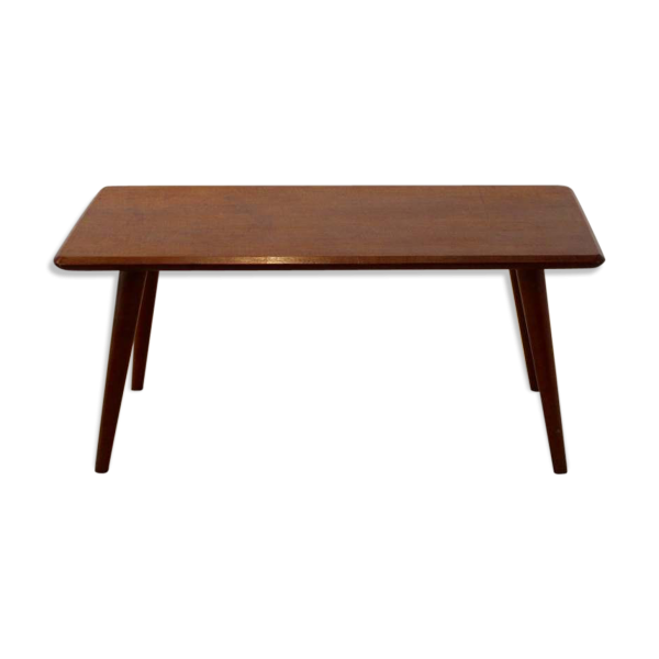table basse 60s bois mat riau marron bon tat scandinave. Black Bedroom Furniture Sets. Home Design Ideas