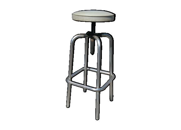 tabouret d 39 atelier ann es 50 60 m tal r glable en hauteur m tal gris dans son jus. Black Bedroom Furniture Sets. Home Design Ideas