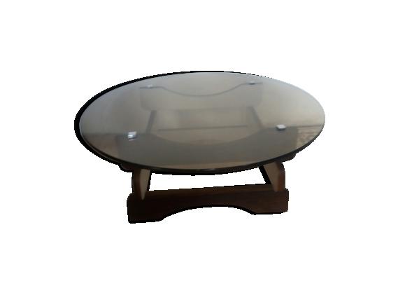 Table basse en verre fumé et bois des années 70