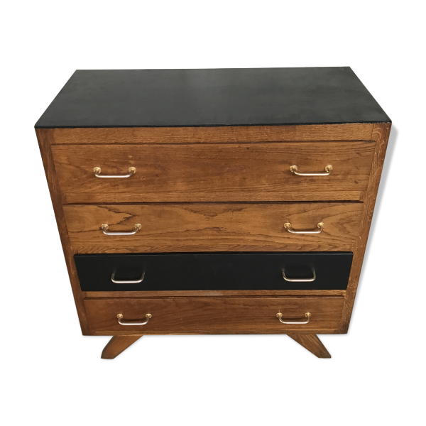 commode ann e 70 pieds compas bois mat riau marron bon tat vintage. Black Bedroom Furniture Sets. Home Design Ideas