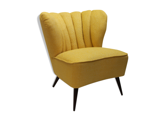 fauteuil ann e 50 avec tissu kenzo bois mat riau jaune bon tat vintage. Black Bedroom Furniture Sets. Home Design Ideas
