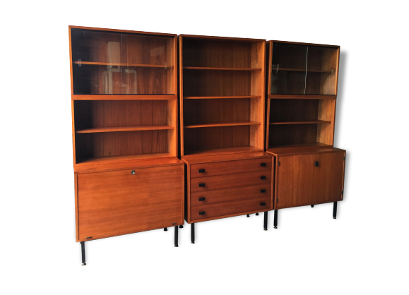 meuble biblioth que scandinave des ann es 50 60 style pierre guariche bois mat riau bois. Black Bedroom Furniture Sets. Home Design Ideas