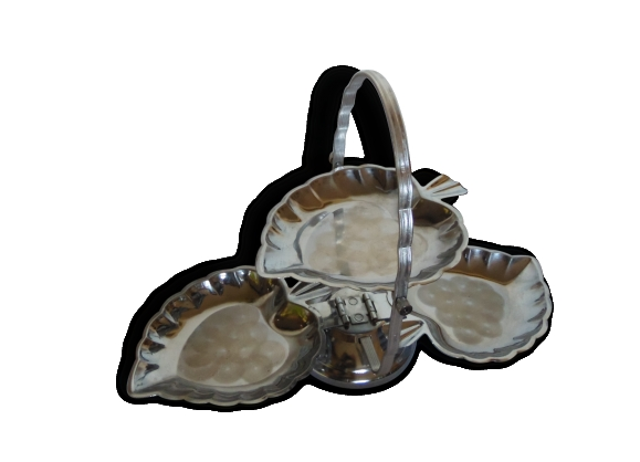 serviteur a gateaux ou amuses bouches metal argent forme feuille le fait main. Black Bedroom Furniture Sets. Home Design Ideas