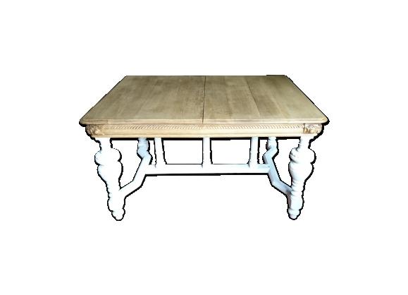 Table avec rallonges bois décapé pied blanc coulisse