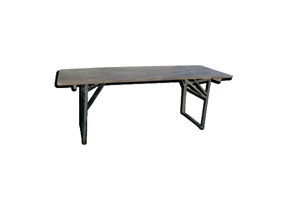 Table industrielle métal et bois des années 50-60 pliante