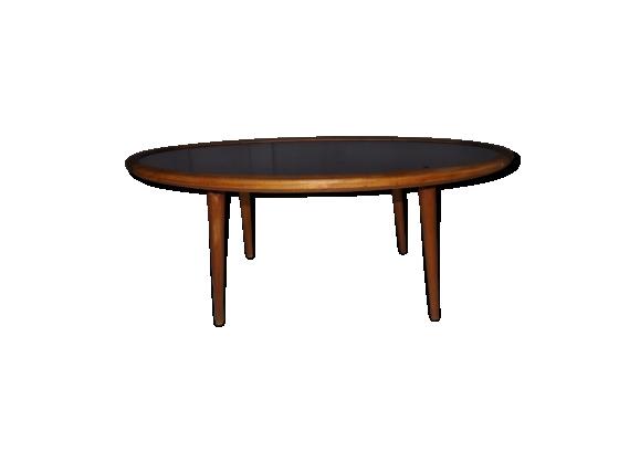 Table basse vintage ovale structure bois et plateau en stratifié noir circa 1960