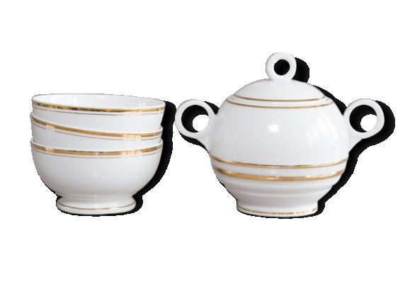Set Petit Déjeuner, 3 Bols et un sucrier en porcelaine.