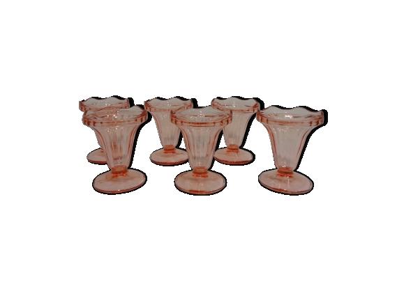 Lot de 6 coupes à glace anciennes en verre rose