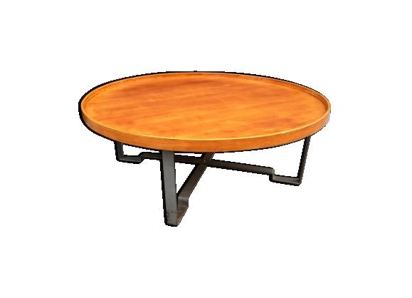 Table basse plateau rond bois et métal